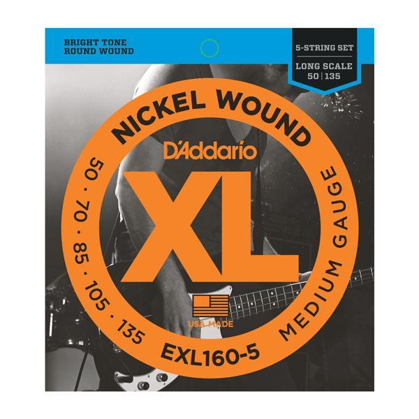 EXL160-5 XL MEDIUM 5 STRING 50-135 / Струны Для бас гитар, Музыкальный Мастер