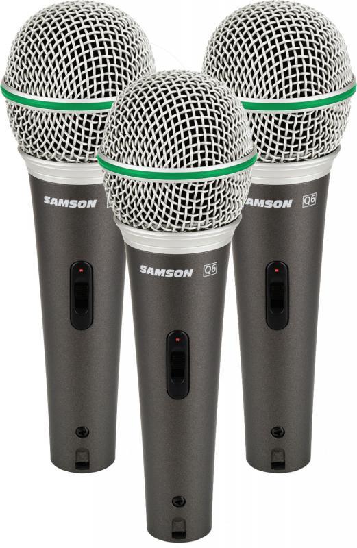Q6 Set Комплект из трёх динамических микрофонов в прочном кейсе / Вокальные и речевые микрофоны, Музыкальный Мастер