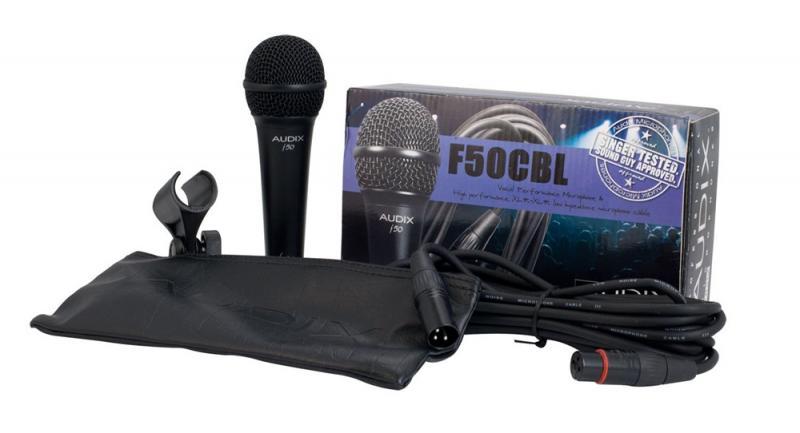 F-50 CBL микрофон динамический набор с микрофонным кабелем (6м), держателем, сумкой / Вокальные и речевые микрофоны, Музыкальный Мастер