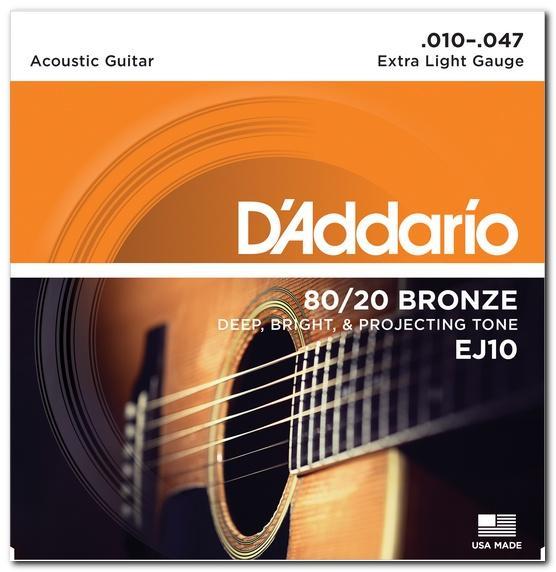 EJ10 80/20 BRONZE EXTRA LIGHT 10-47 / Струны Для акустических гитар, Музыкальный Мастер