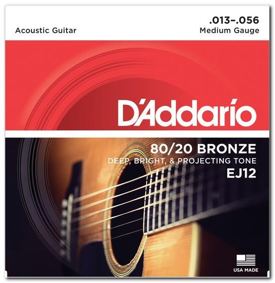 EJ12 80/20 BRONZE MEDIUM 13-56 / Струны Для акустических гитар, Музыкальный Мастер