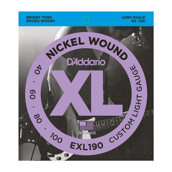 EXL190 XL CUSTOM LIGHT 40-100 / Струны Для бас гитар, Музыкальный Мастер