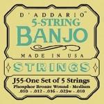 J55 BANJO PHOSPHOR BRONZE MEDIUM 5 STRING 10-23 / Струны Для других инструментов, Музыкальный Мастер