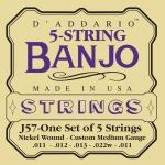 J57 BANJO NICKEL CUSTOM MEDIUM 5 STRING 11-22 / Струны Для других инструментов, Музыкальный Мастер
