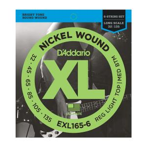 EXL165-6 XL REG LIGHT TOP / MED BOTTOM 6 STRING 32-135 / Струны Для бас гитар, Музыкальный Мастер