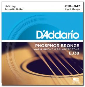 EJ38 80/20 BRONZE LIGHT 12-STRING 10-47 / Струны Для акустических гитар, Музыкальный Мастер